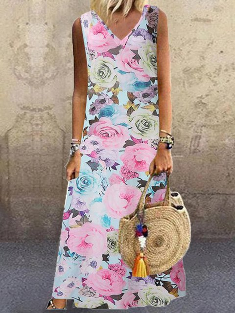 Plus Size Floral Midi Dresses Summer Sleeveless V Neck Dresses