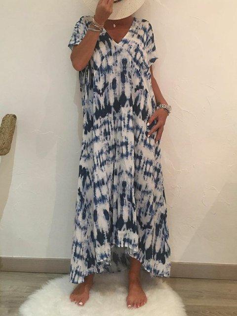Plus Size Boho Maxi Dresses Summer V Neck Short Sleeve Printed Dresses
