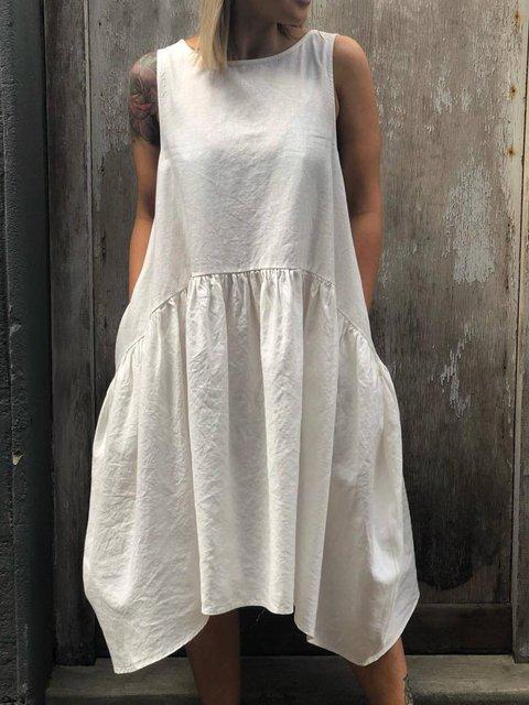 White Casual Plain Crew Neck Half Sleeve Dresses