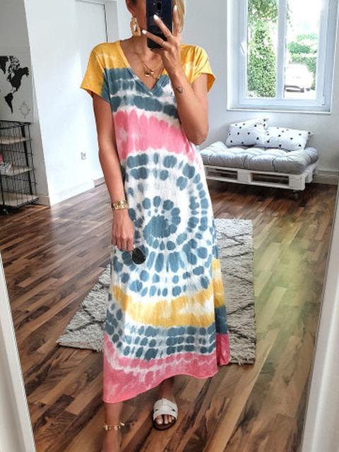 Yellow V Neck Boho Dresses