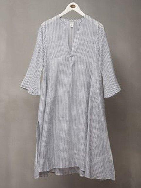 V Neck Gray Women Summer Dresses Stripes Dresses