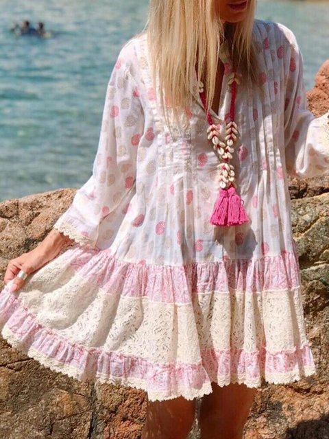Printed V Neck Women Dresses Going Out Polka Dots Boho Paneled Dresses
