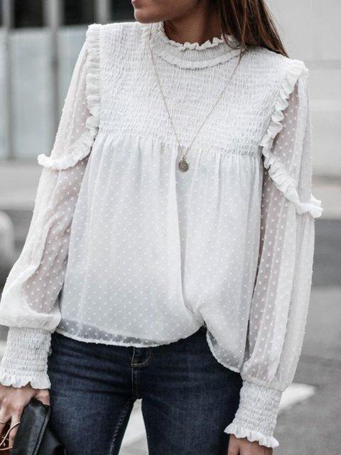 Stand Collar Sweet Long Sleeve Shirts & Tops