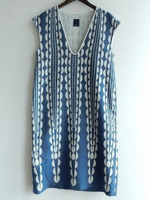 Printed V Neck Women Dresses Going Out Casual Cotton Dresses