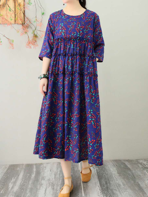 Crew Neck Women Dresses A-Line Holiday Casual Linen