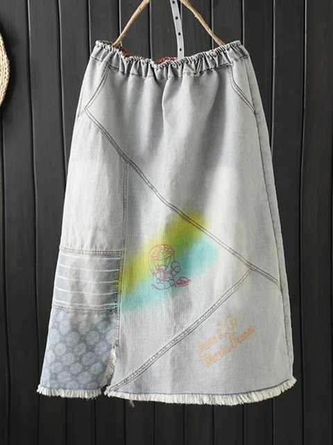 White-Blue Casual Cotton Skirts