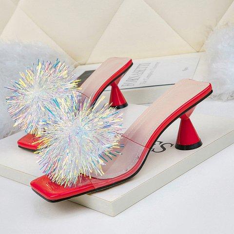 Flowers Pvc Open Toe Kitten Heel Slide Sandals