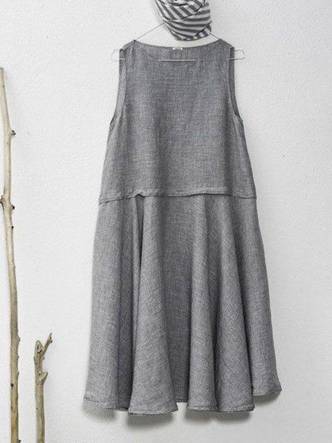Crew Neck Gray Women Summer Dresses Casual Paneled Dresses