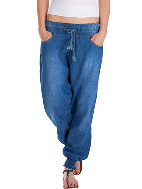 Plus Size Solid Women Denim Jeans With Pockets