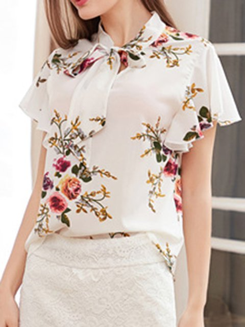 Floral Print Ruffled Bow Women Summer Blouses