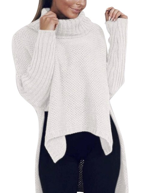 Irregular Loose Slit Knitted Women Warm Sweaters