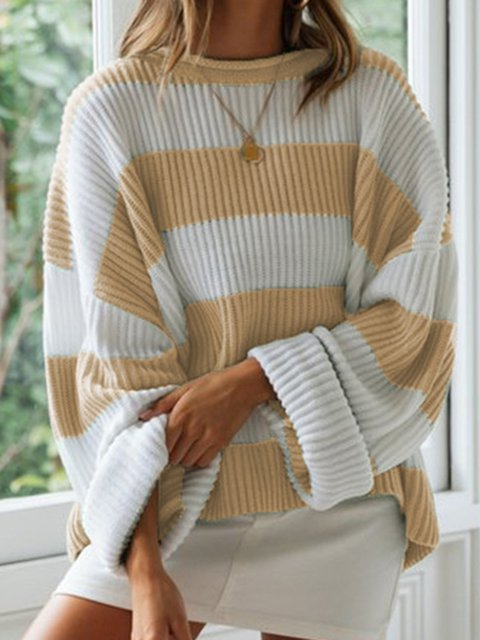 Loose Fit Color Block Women Warm Sweaters