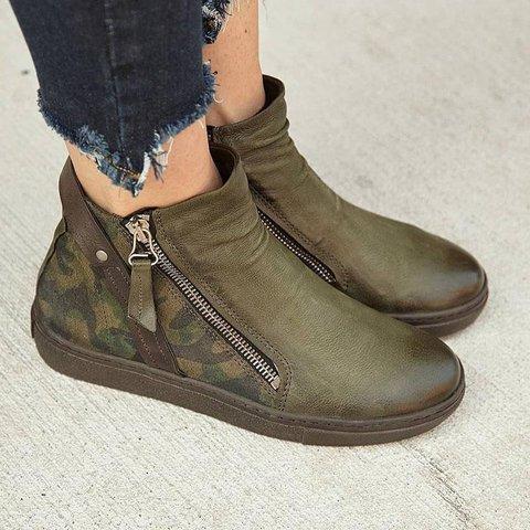 Side Zipper All Season Flat Ankle Boots