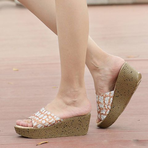 Slip On Wedge Heel Slide Sandals Womens Shoes