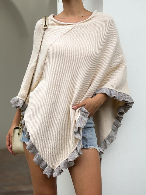 Loose Fit Knitted Ruffled Women Warm Ponchos Outerwear