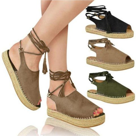 Suede Lace-Up Peep Toe Platform Shoes Summer Women's Sandals