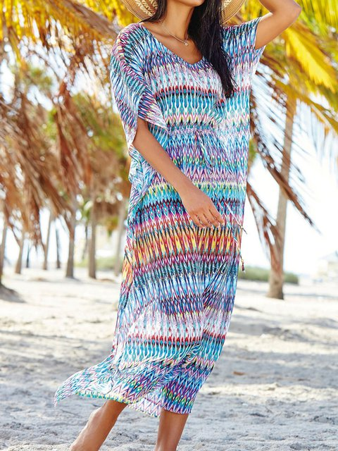 Crew Neck Blue Women Dresses Shift Beach Paneled Tribal Dresses
