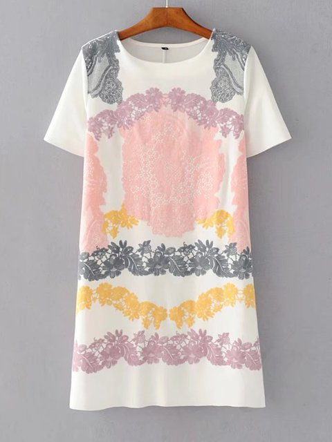 Crew Neck White-Pink Women Dresses Shift Outdoor Casual Floral Dresses
