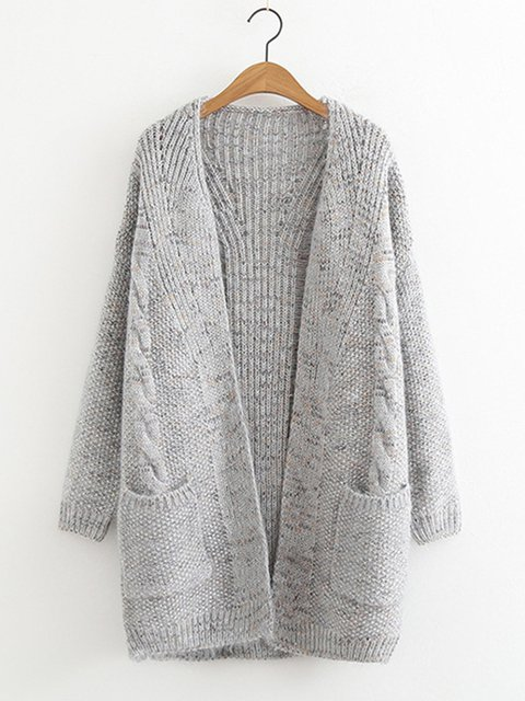 Loose Fit Knitted Women Warm Cardigans With Pockets
