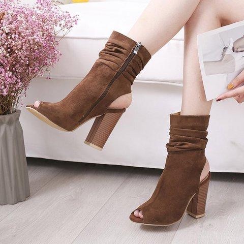 Peep Toe Zipper Chunky Heel Artificial Suede Casual Boots