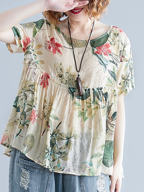 Loose Fit Floral Print Women Summer T-shirts