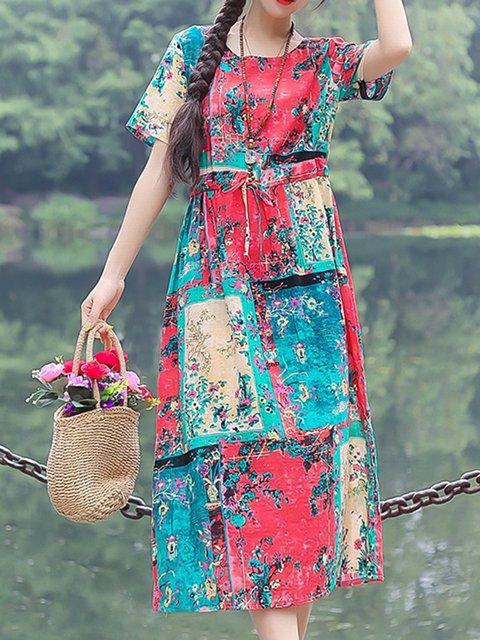 Floral Print Color Block Women Summer Midi Dresses