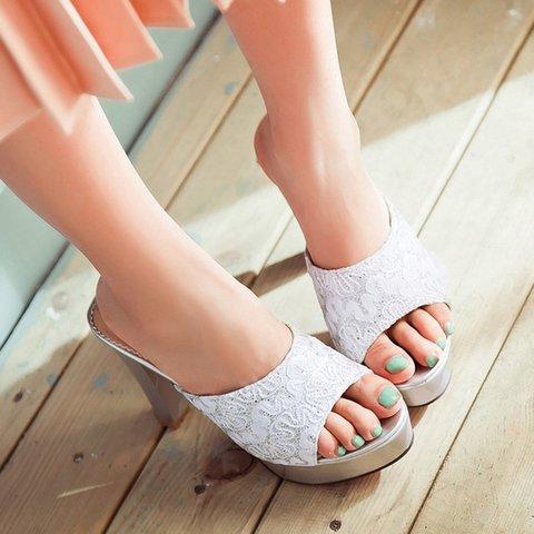 Plus SizePlatform Peep Toe Chunky Heel Slide Pumps