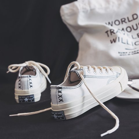 Outdoor Athletic Lace Up Canvas Sneakers