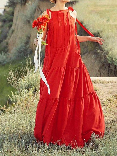 Plus Size Sleeveless Summer Spaghetti Women Dresses A-Line Party Plain Dresses