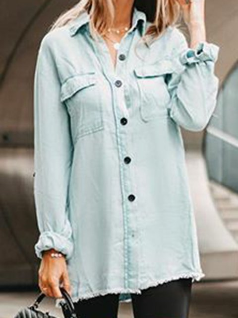Plus Size Maxi Long Sleeve Daytime Work Plain Shirts & Tops