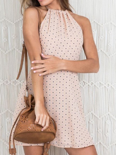 Summer Sleeveless Polka Dots Halter Women Dresses A-Line Date Dresses