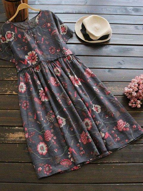Plus Size Maxi Summer Crew Neck Women Dresses A-Line Daytime Floral-Print Dresses