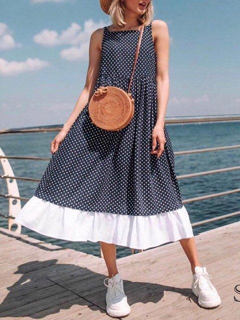 Square Neck Women Summer Dresses Daytime Polka Dots Dresses