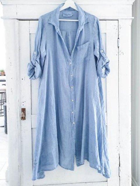 Shirt Collar Blue Women Casual Dresses Cotton Dresses
