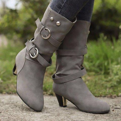 Slip-On Adjustable Buckle Chunky Heel Mid-Calf Boots Women's Shoes