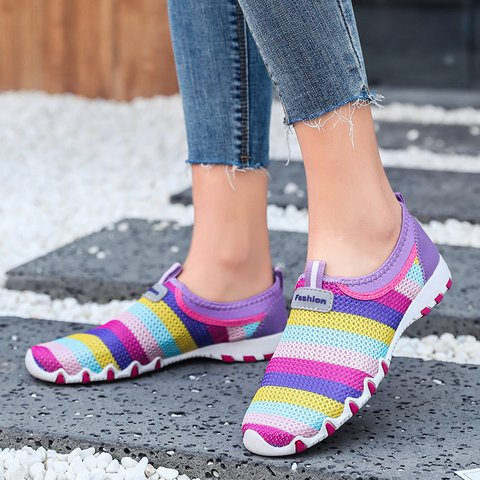 Slip-On Candy Shoes Flat Color Block Women Sneakers