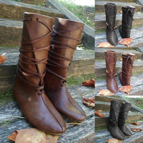 Slip-On Martin Boots Flat Heel Mid-Calf Vintage Boots