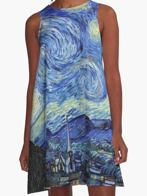 Women Blue Sleeveless Round Neck Dresses