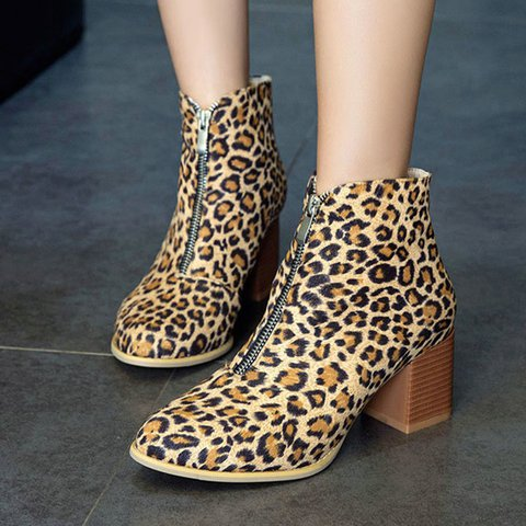 Round Toe Winter Zipper Chunky Heel Casual Ankle Boots