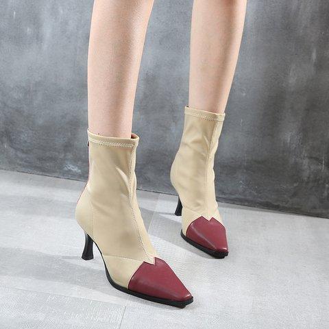 Stylish Color Block Pointed Toe Kitten Heel Zip Mid Boots