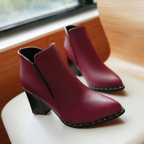 Women Leather Chunky Heel Slide Ankle Booties