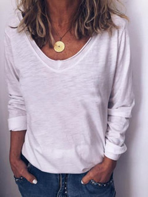 Plain V Neck  Casual Long Sleeve Shirts