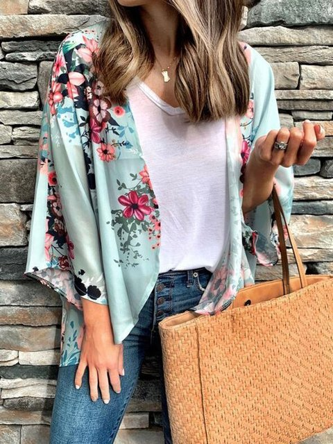 Floral Tulle Lightweight 3/4 Sleeve Shirts