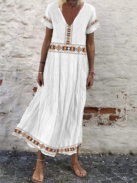 V Neck Women Summer Caftans Shift Casual Tribal Dresses