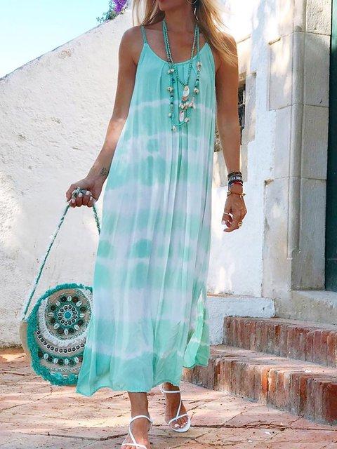 Spaghetti Women Summer Caftans Shift Casual Dresses
