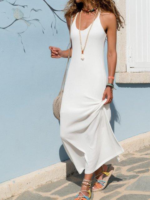 Plus Size Solid Women Summer Maxi Dresses