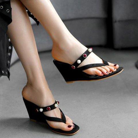 Date Suede Flip Flops Wedge Heel Slide Sandals