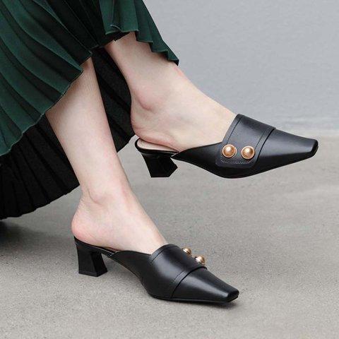 Genuine Leather Square Toe Chunky Heel Slide Mules