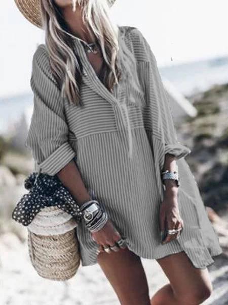 V Neck Cotton Long Sleeve Casual Dresses