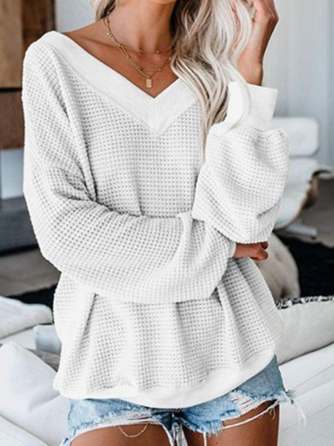 Plus Size Solid Women 2019 Fall Pullover Sweaters